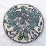 Plato-siglo-XIV-serie-verde-y-morado-pavos-enfrentados