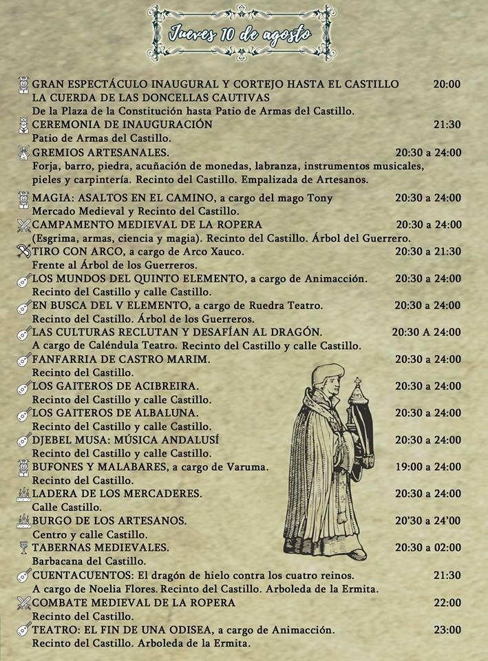 Programa Jornadas Medievales de Cortegana 2017